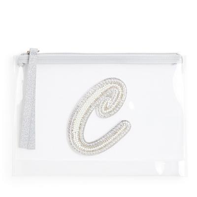 """Transparente Tasche mit Glitzer und Initiale """"C"""" aus Zierperlen"""
