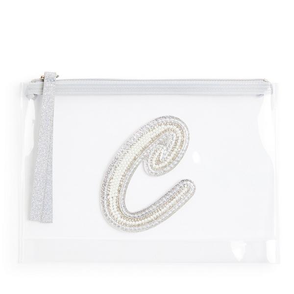 Transparante buidel met glitters, letter C met imitatieparels en studs