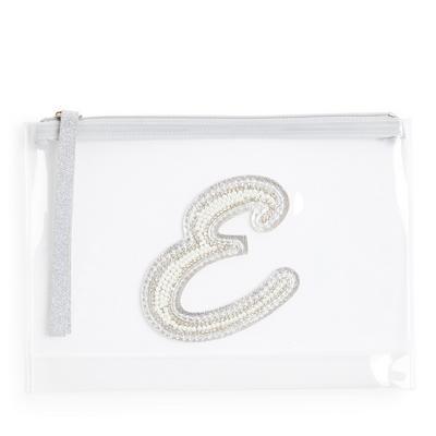 """Transparente Tasche mit Glitzer und Initiale """"E"""" aus Zierperlen"""