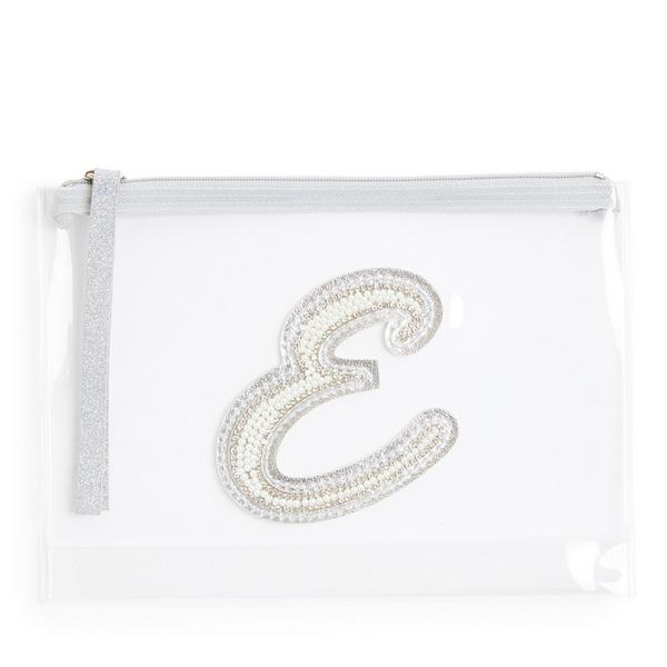 Clear Glitter E Initial Faux Pearl Studded Pouch