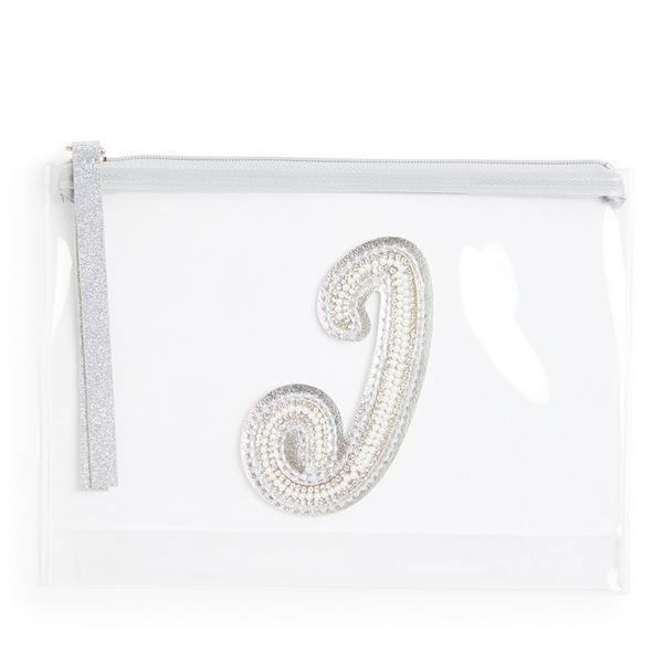 Bolso plano de mano transparente con tachuelas, purpurina y perlas sintéticas con la inicial «J»