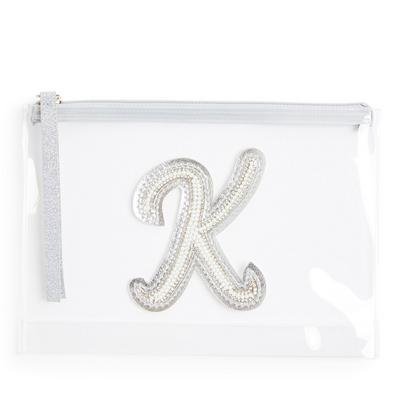 """Transparente Tasche mit Glitzer und Initiale """"K"""" aus Zierperlen"""