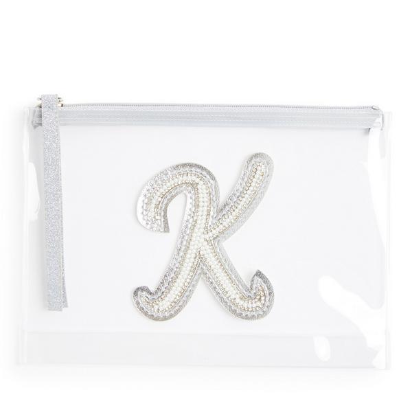 Transparante buidel met glitters, letter K met imitatieparels en studs