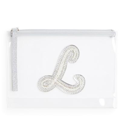 """Transparente Tasche mit Glitzer und Initiale """"L"""" aus Zierperlen"""