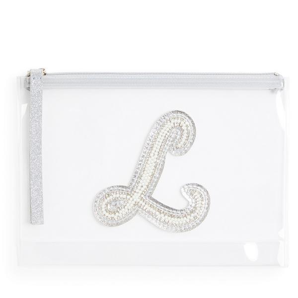 Pochette transparente cloutée à paillettes avec initiale L en fausses perles