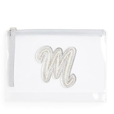 """Transparente Tasche mit Glitzer und Initiale """"M"""" aus Zierperlen"""