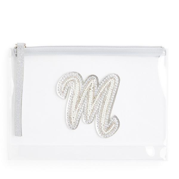 Pochette transparente cloutée à paillettes avec initiale M en fausses perles