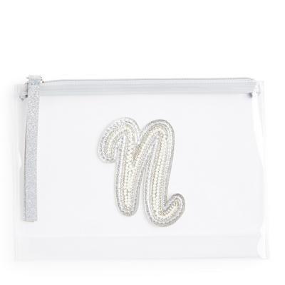 """Transparente Tasche mit Glitzer und Initiale """"N"""" aus Zierperlen"""