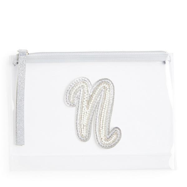 Transparante buidel met glitters, letter N met imitatieparels en studs