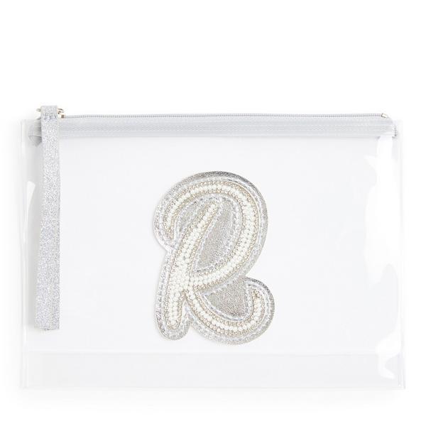Pochette transparente cloutée à paillettes avec initiale R en fausses perles