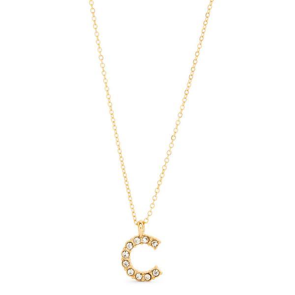 Goldtone Rhinestone C Initial Pendant Necklace
