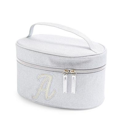 Silver Glitter A Initial Faux Pearl Studded Vanity Case