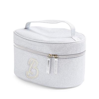 Silver Glitter B Initial Faux Pearl Studded Vanity Case