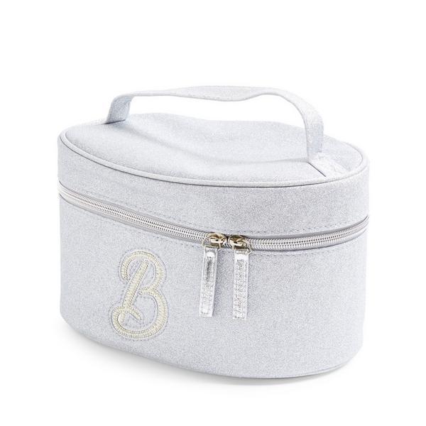 Zilverkleurige beautycase met glitters, letter B met imitatieparels en studs