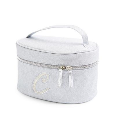 Silver Glitter C Initial Faux Pearl Studded Vanity Case