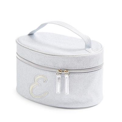 Silver Glitter E Initial Faux Pearl Studded Vanity Case