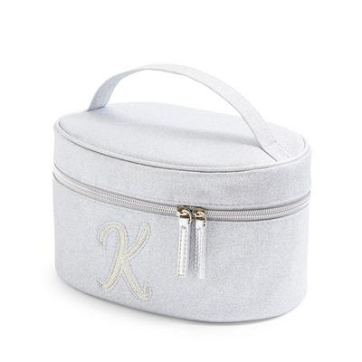 Silver Glitter K Initial Faux Pearl Studded Vanity Case