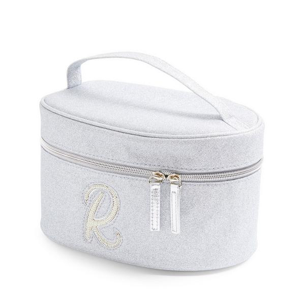 Silver Glitter R Initial Faux Pearl Studded Vanity Case