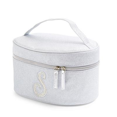 Silver Glitter S Initial Faux Pearl Studded Vanity Case