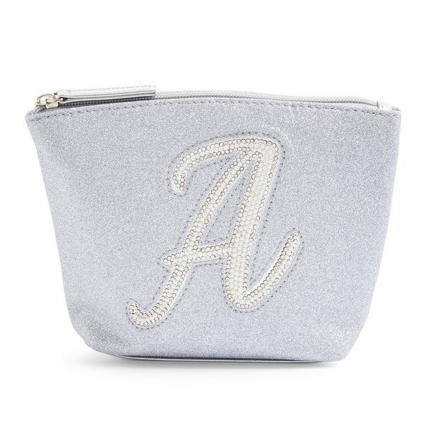 Silver Glitter A Initial Mini Washbag