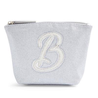 Mini trousse de toilette argentée à paillettes avec initiale B