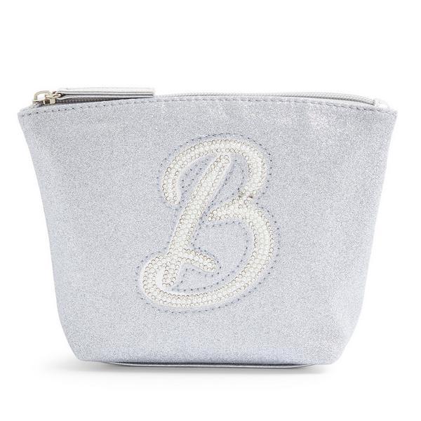 Silver Glitter B Initial Mini Washbag