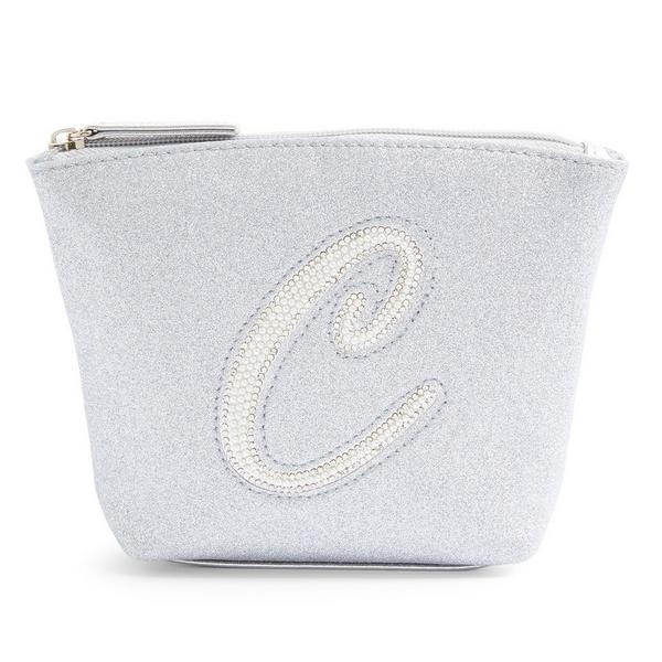 Silver Glitter C Initial Mini Washbag