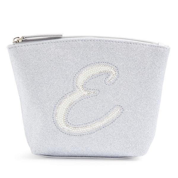 Silver Glitter E Initial Mini Washbag
