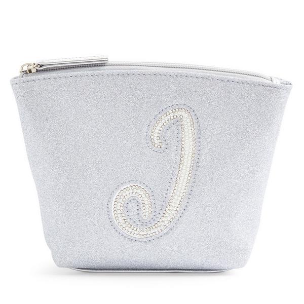Silver Glitter J Initial Mini Washbag