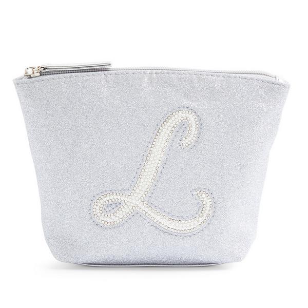 Silver Glitter L Initial Mini Washbag