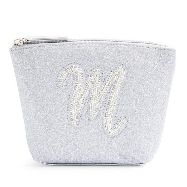 Zilverkleurige minitoilettas met glitters, letter M