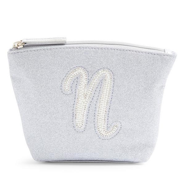 Silver Glitter N Initial Mini Washbag