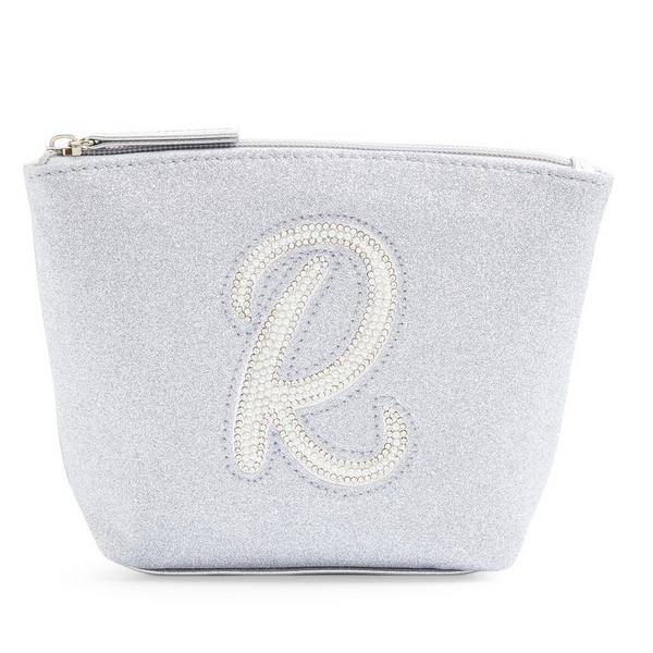 Silver Glitter R Initial Mini Washbag