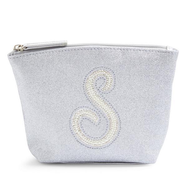 Silver Glitter S Initial Mini Washbag