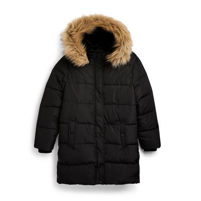 Zwarte gewatteerde jas voor meisjes