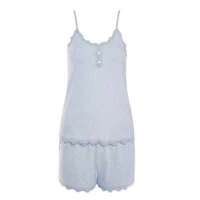 Powder Blue Cotton Stretch Short Pajama Set