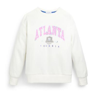 Witte sweater met ronde hals en print voor meisjes