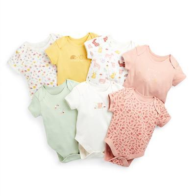 Baby Girl Woodland Print Bodysuits 7 Pack