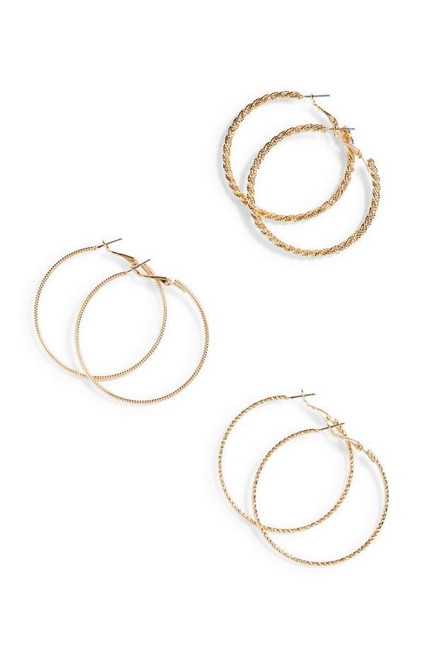 Goldtone Sparkle Twist Hoops Earrings 3 Pack