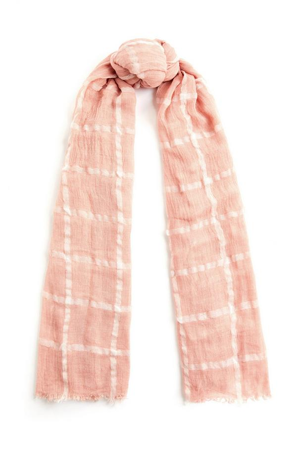 Blush Pink Windowpane Check Scarf
