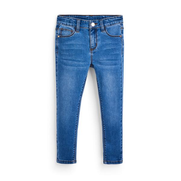 Modre raztegljive oprijete hlače iz džinsa za mlajša dekleta