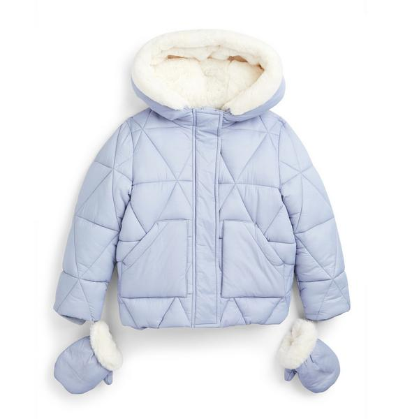 Younger Girl Blue Puffer Jacket With Mittens