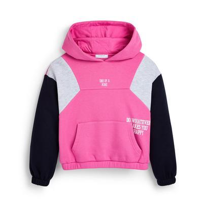 Roze hoodie met gerimpelde boord voor meisjes
