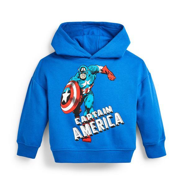 Sweat à capuche bleu à imprimé Captain America garçon