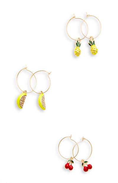3-Pack Goldtone Delicate Fruit Charm Earrings