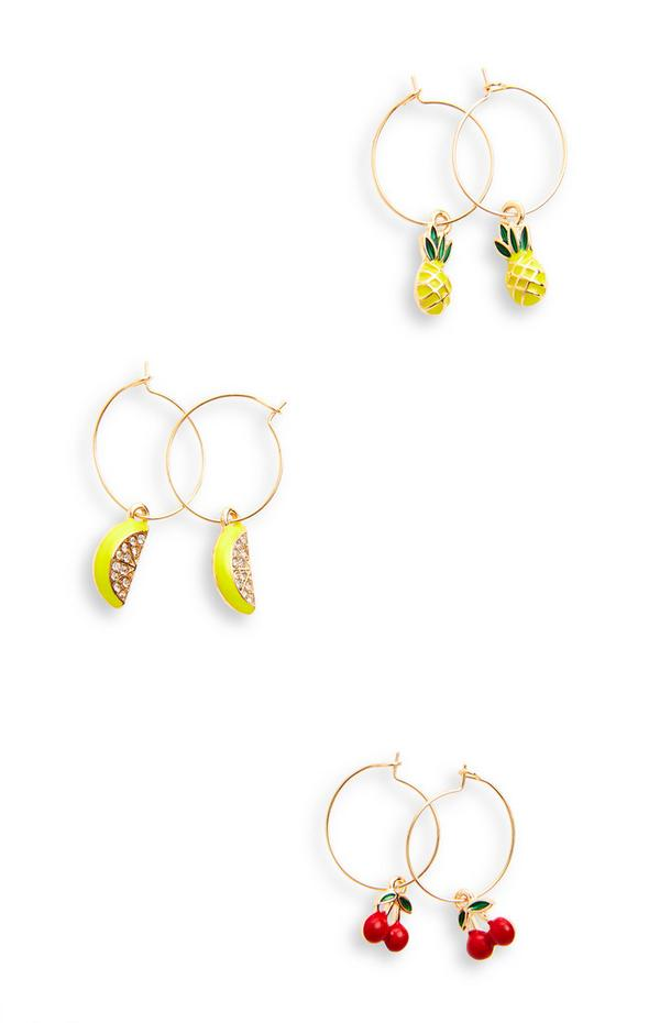 3-Pack Goldtone Delicate Fruit Charm Earrings