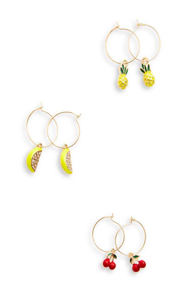 Lot de 3 boucles d'oreilles dorées à breloques fruits délicats