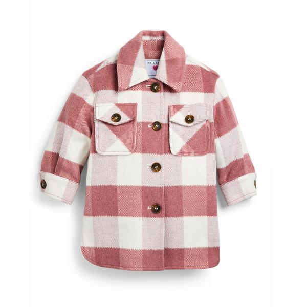 Younger Girl Pink Check Shacket