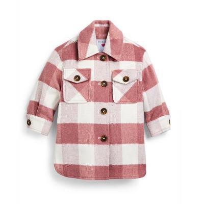 Veste-chemise rose à carreaux fille
