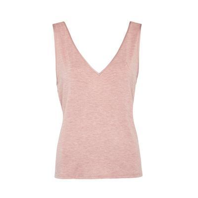 Pink Heather Modal V-Neck Tank